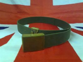 EX MILITARY GERMAN ARMY GREEN CANVAS BELT WITH METAL BUCKLE